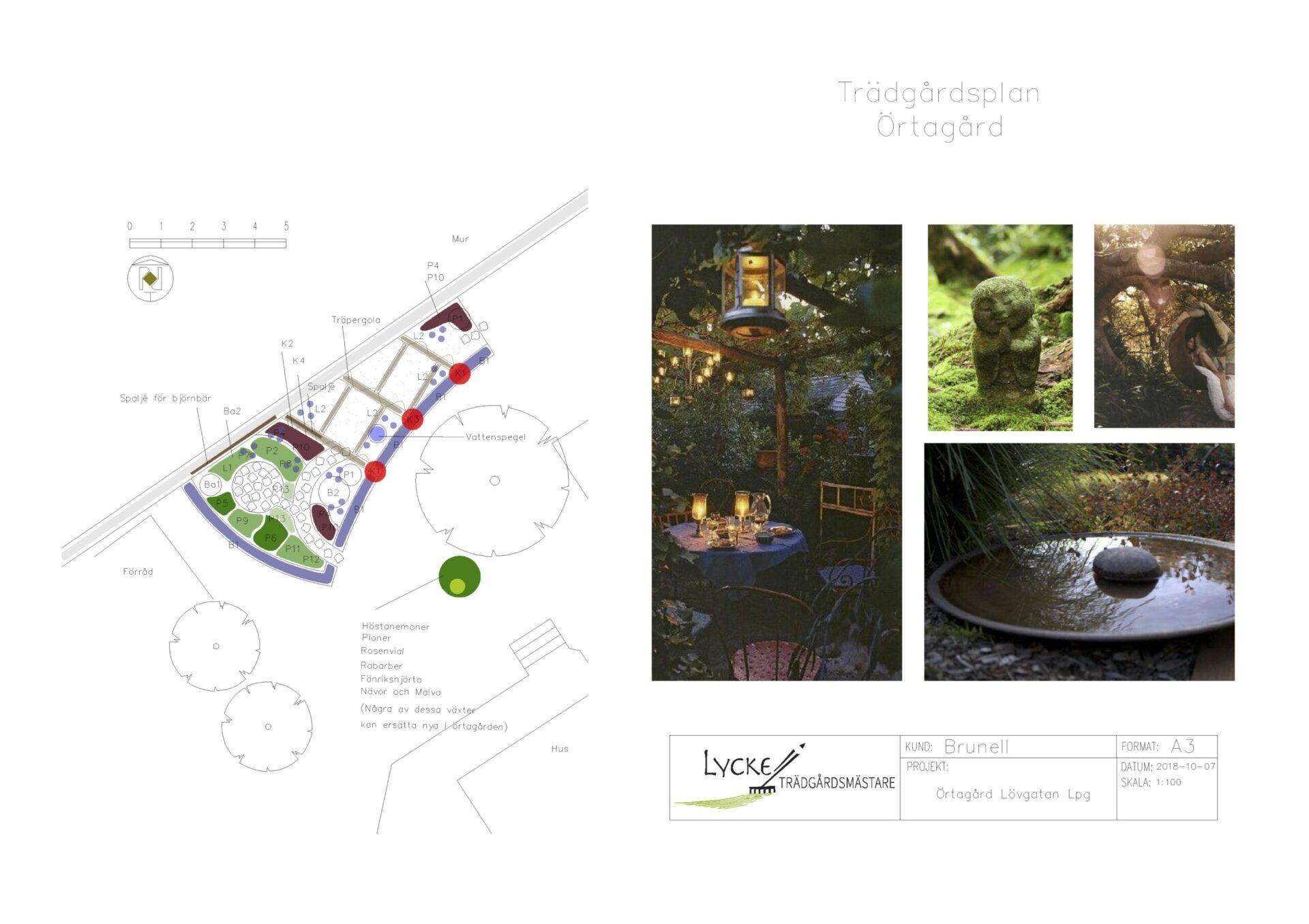 Brunell A3 Trädgårdsplan